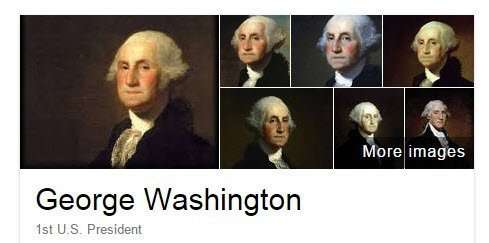 Knowledge Panel images for George Washington.