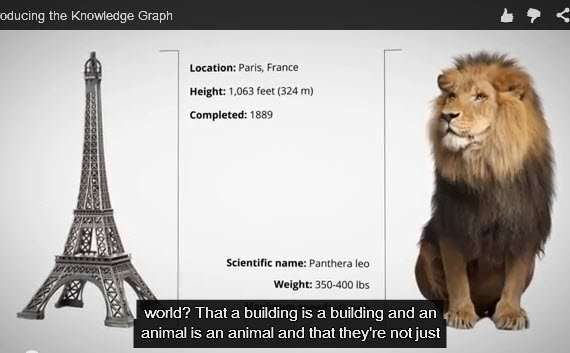 A screen from a video on the Google Knowledge Graph page.