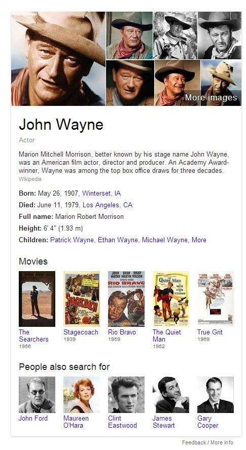 Knowledge Panel at Google for John Wayne and related entities