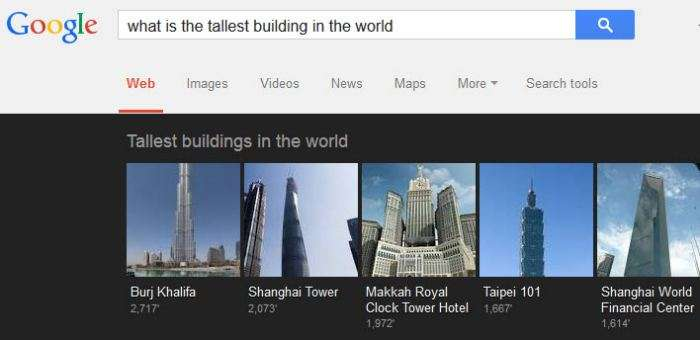 A carousel in response to  a question of 'what is the tallest building in the world?