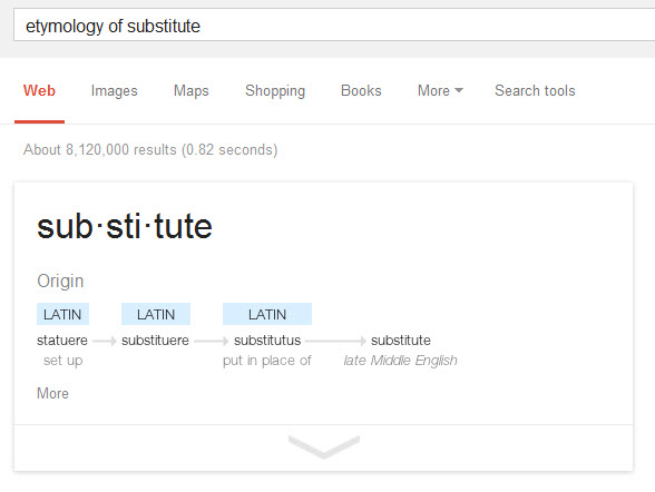 A Onebox result for the etymology of the word substitute