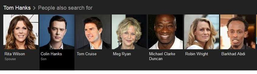 People whom people search for when searching for Tom Hanks.