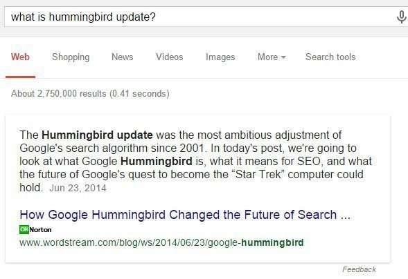 Google's Hummingbird Update