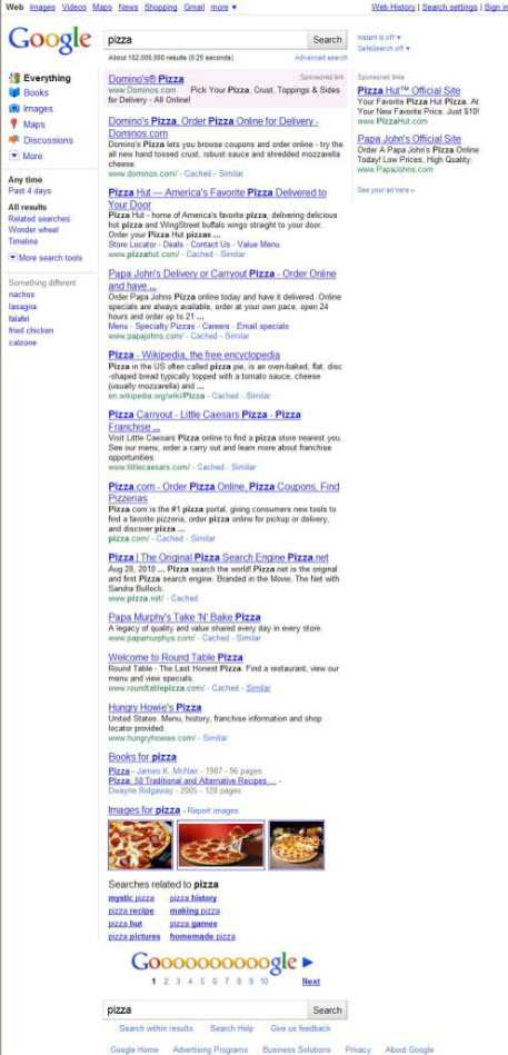 The first page of search results on a search for pizza on September 16, 2010, which doesn't show a local map result anymore.