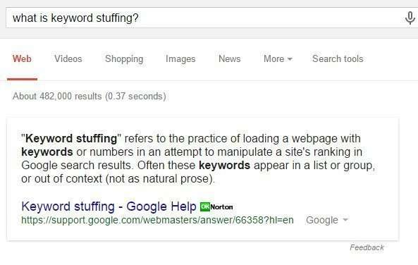 "What would a search for ""keyword Stuffing"" bring searchers?"