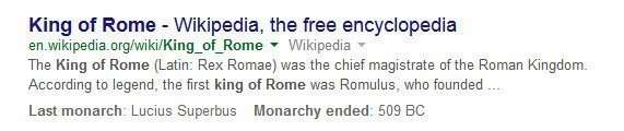 query and question answering results to king of rome