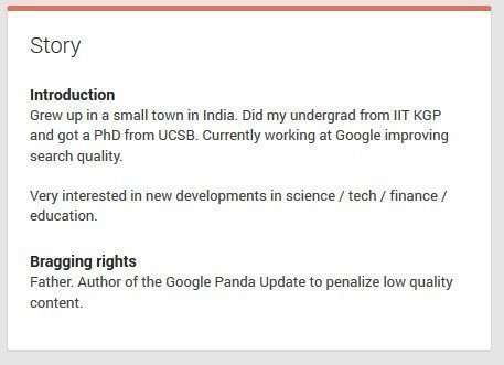 "Navneet Panda includes the Panda Update in his ""bragging rights."""