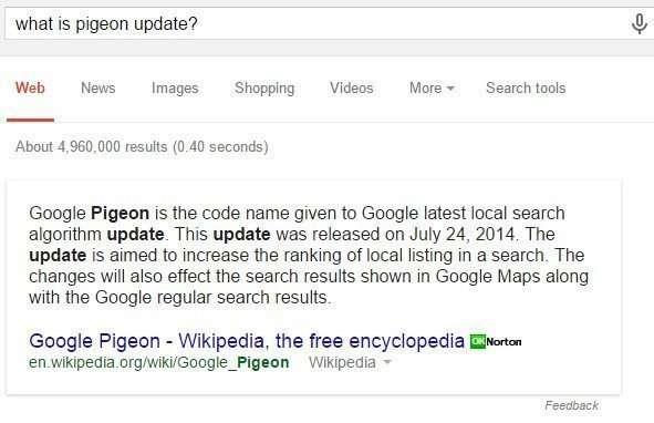 Google' Pigeon Update