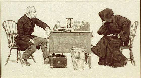 A picture of a man playing chess with the Grim Reaper.