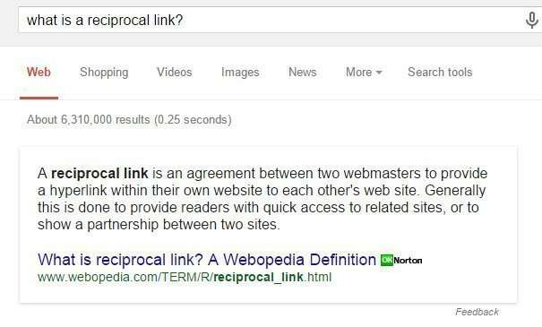 What are reciprocal links?