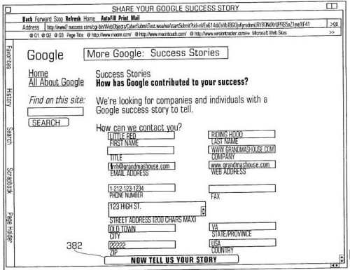 A lead generation form inviting people to share their google success story