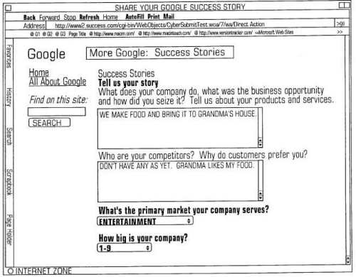 Additional forms for people to use to tell their Google success story.