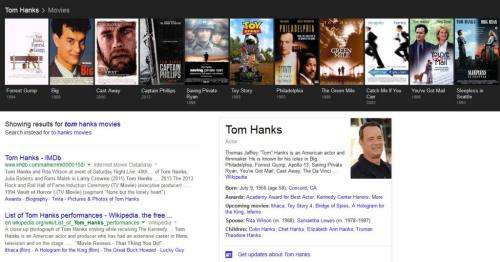 A collection of Tom Hanks Movies shown off in a Google Carousel.