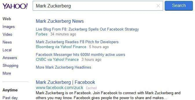 Yahoo suggests a number of real time news results on a query for Mark Zuckerberg
