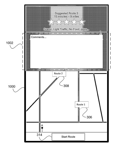 A screenshot from the Apple patent application showing more details about the kind of information available about one of the alternative routes, including choices such as Scenic, Light Traffic, No Food, and more, with a time estimate of 15 minutes and a distance estimate of 9 miles.