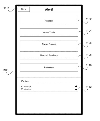 A screenshot from the Apple patent application enabling travelers to report accidents, heavy traffic, power outages, blocked roadways, protestors, and likely more.