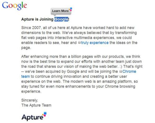Apture's homepage with the word Google highlighted, and special icons in front of anchor text appearing on the page.