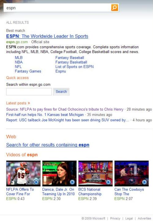 Bing search result for a search for ESPN showing links to pages, images, and video on the ESPN site.