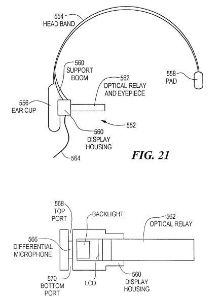 This patent shows more of the eyeglass system and includes a directional microphone, speakers and a headband that goes over top of someone's head.