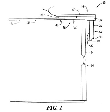 A snapshot from the patent showing how the display device fits on glasses frames