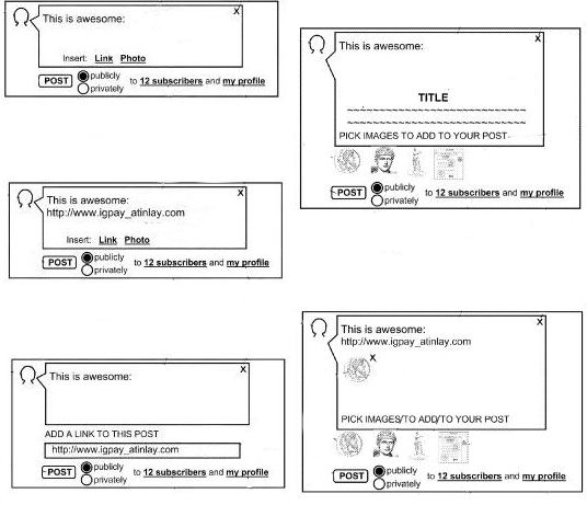 Some interface images from the patent that are similar in many ways to Google Plus, and the ability to add links and images to posts and to decide between sending posts to subscribers or making them public.
