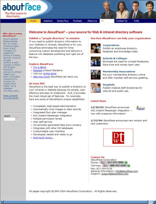The facebook.com home page as it appeared on Febrary 22, 2005, as the home page for the About Face Corporation.