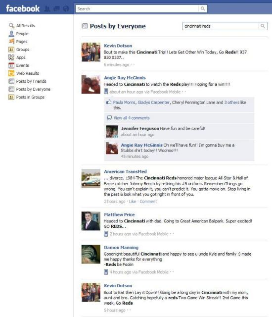 A screenshot of Facebook search results on the term [cincinnati reds] on a search of posts by everyone.