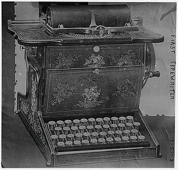 The Library of Congress calls this picture one of the first typewriter.