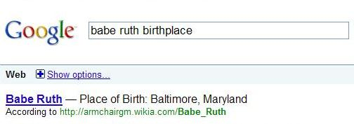 Google search result showing Babe Ruth's Place of Birth.