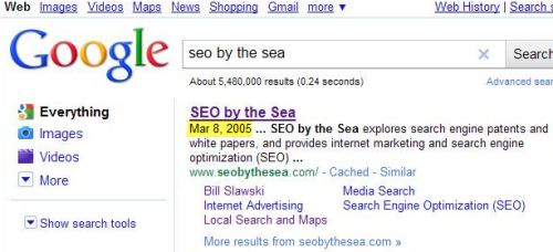 A Google search result for seo by the sea, showing a date of Mar 8, 2005 at the start of the description for the site.
