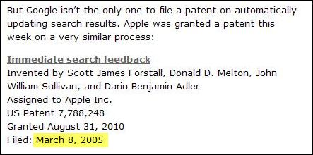 An excerpt from a post presently showing on the SEO by the Sea home page which includes the date of Mar 8, 2005, which matches the date in the present Google snippet on a search for the name of the site.