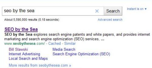 A Google search result for seo by the sea, without a date appearing at the start of the snippet shown for the site.