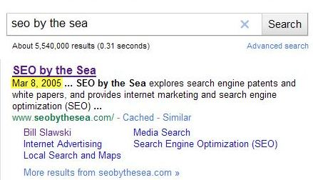 Another Google search result for seo by the sea, showing a date of Mar 8, 2005 at the start of the description for the site.
