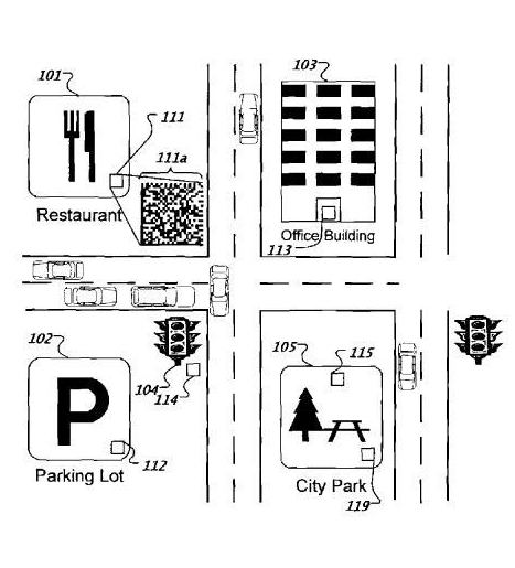 Image from Google Barcode Patent showing placement for barcodes for a restaurant, a parking lot, an office building, and a city park.