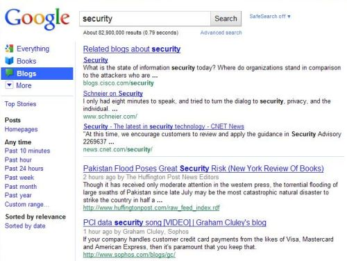 A blog search started from the Google home page, for the term security, showing a related blogs link at the top of the results.