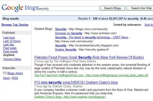 A blog search started from the Google Blog Search home page, for the term security, which shows related blogs link at the top of the results, but doesn't link to a bigger list of related blogs.