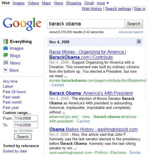 A custom date range search at Google for Barack Obama on November 4, 2008.