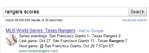 World Series standings and schedule shown at the top of Google Search Results on a search for rangers scores