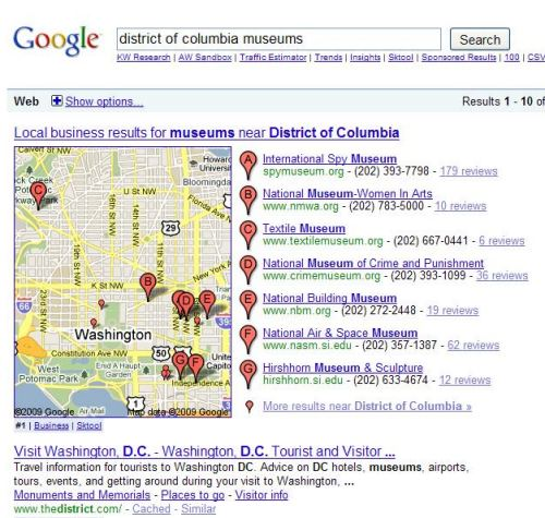 Google search results for district of columbia museums.