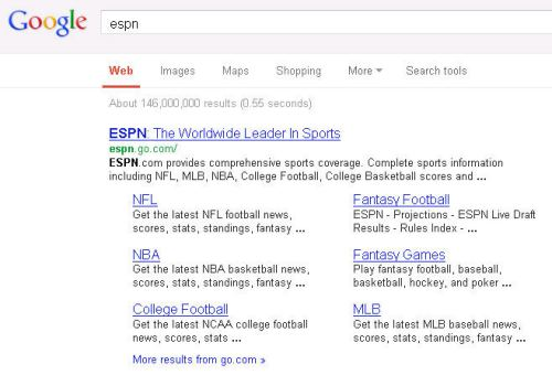 The top result on a search for [ESPN] is the ESPN home page and site links.