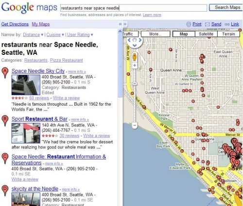 Google local search result for restaurants near space needle