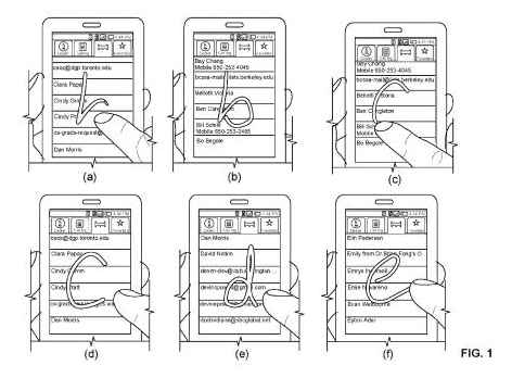 Six examples of gesture searches on a touch screen, from the Google patent on Glyphs.