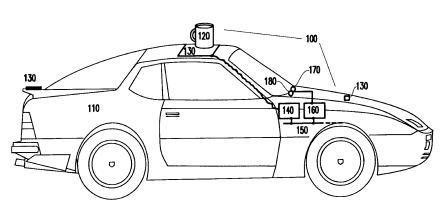 A screenshot from the patent showing the locations of sensors on a car, and a beverage left atop the car.