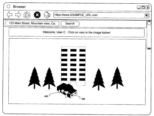 A browser screen shot asking a viewer to pick a car out of an image that also contains a building and some trees, with an address associated with the image.