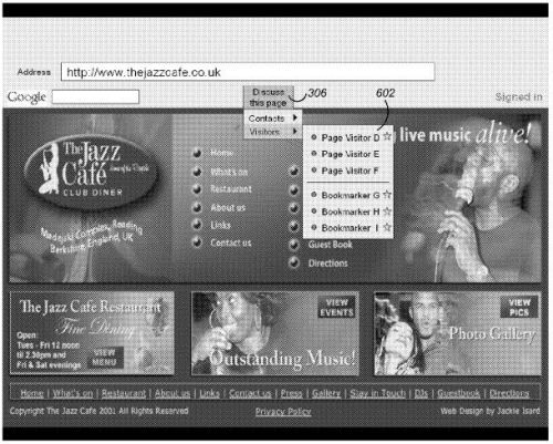 A screenshot from the patent of a web page, with a menu showing other visitors to a web page.