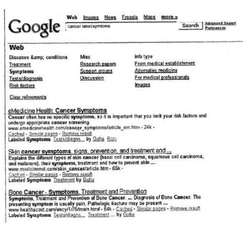 Google search results with a query of cancer and a label of symptoms, showing search results that have been labeled with the term symptoms.