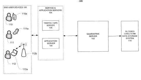 A flowchart from the user location spam patent showing data collected from a phone, laptop, and another mobile device for location-based services going into a quarantine server and then a long term server.