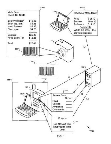 patent document showing a picture of a barcode being taken from a barcode, a review form appearing after the image is uploaded, and the review becoming available online.