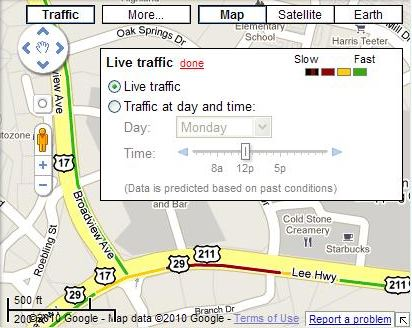 A Google Map showing the live traffic information and a user interface for getting estimated information about the speed of traffic.
