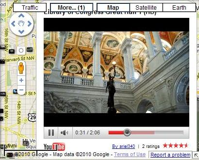 A Google Map embedded with a YouTube Video of the Great Hall in the Library of Congress.